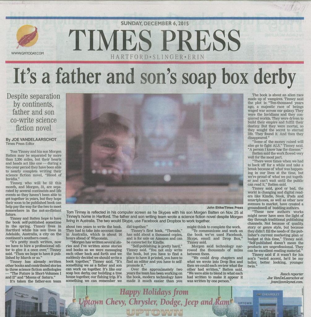 Great Science Fiction Book to read by Father and Son article Hartford Times Press